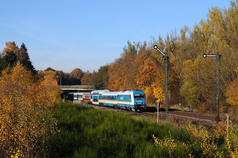 Das Motiv vom Schutthügel in Reuth wächst mehr und mehr zu. Das bunte Herbstlaub bringt am 31.10.15 aber willkommene Abwechslung für 223 061 mit ALX 84115.