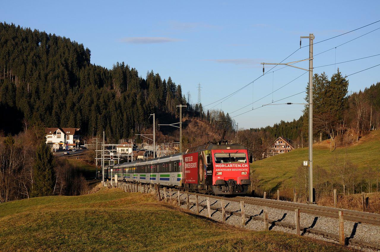 Nochmals kurz hinter Biberbrugg konnte zum zweiten mal die Re456 mit der Morgarten-Werbung aufgenommen werden. Von den Re456 wurden für verschiedene Privatbahnen in der Schweiz in den Jahren 1987,1988 und 1993 insgesamt 14 Lokomotiven gebaut. Die 6 Maschinen welche heute zur Südostbahn gehören, wurden ursprünglich von der Bodensee-Toggenburg-Bahn gekauft, welche aber 2001 nach der Fusion mit der Südostbahn zu dieser gelangten.