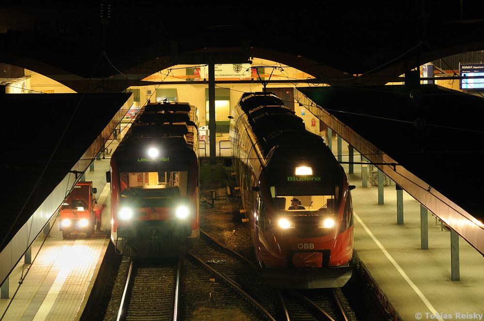 Bevor wir uns ins Ausland begeben besuchen wir noch mal eben den Kopfbahnhof von Lindau am Bodensee, wo sich am 10.07.2012 650 316 der DB und 4024 031 der ÖBB begegneten.