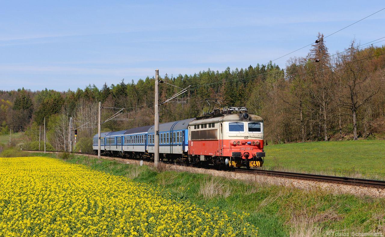 Die altfarbene 242 230 bringt den R669 bei Milenovice in RIchtung Ceske Budejovice.