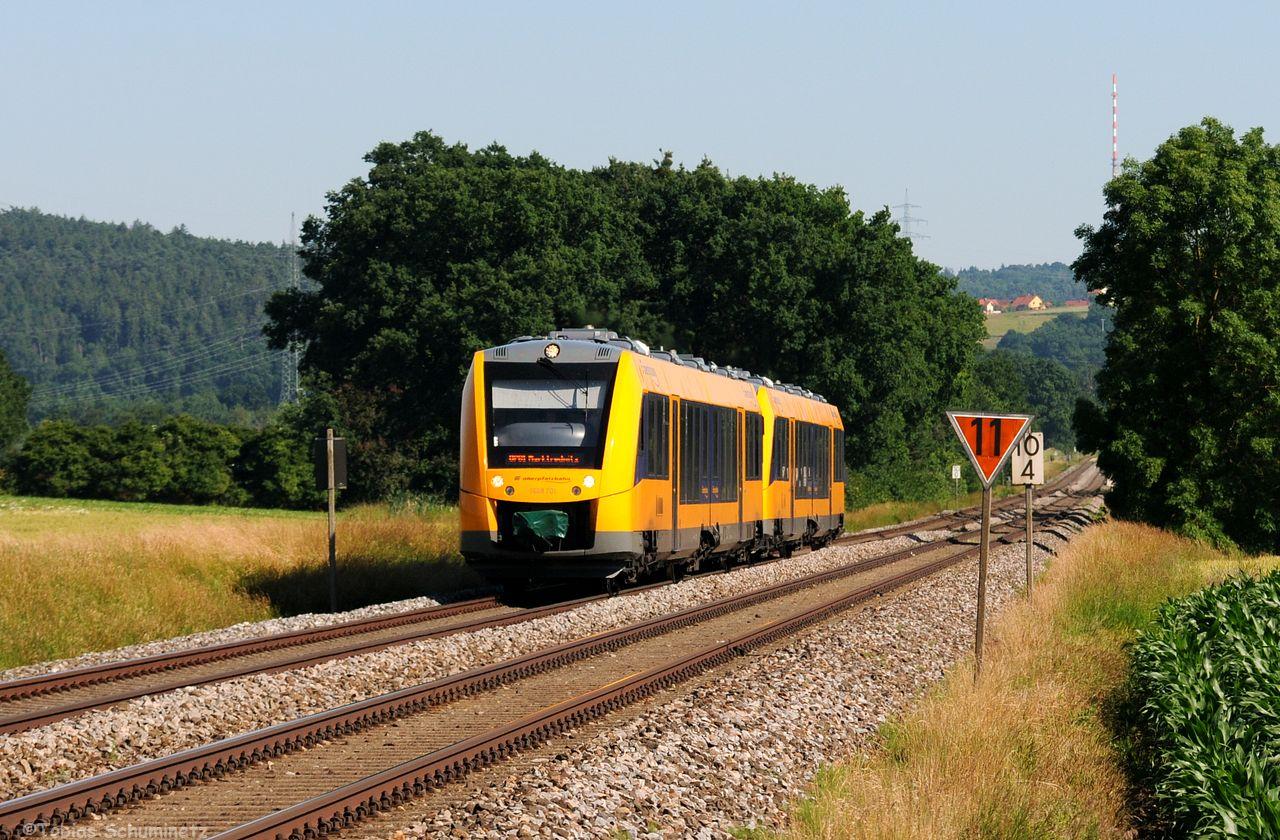 Auch die neuen Triebwagen der Oberpfalzbahn rollten fleißig über die Piste.