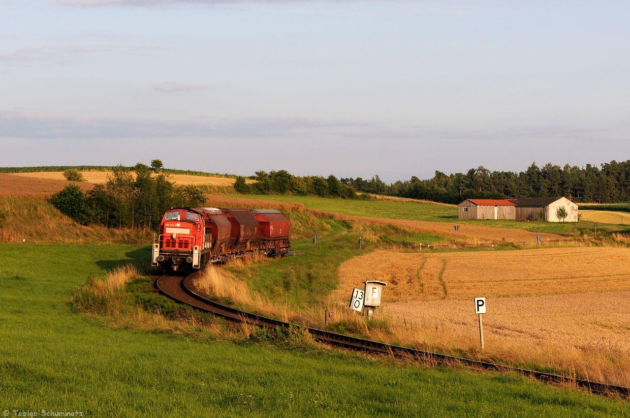 Am 15.07.2016 war dann mit 294 745 doch mal eine andere Lok am Zug und wurde beim Bahnübergang Burgstall aufs Korn genommen.