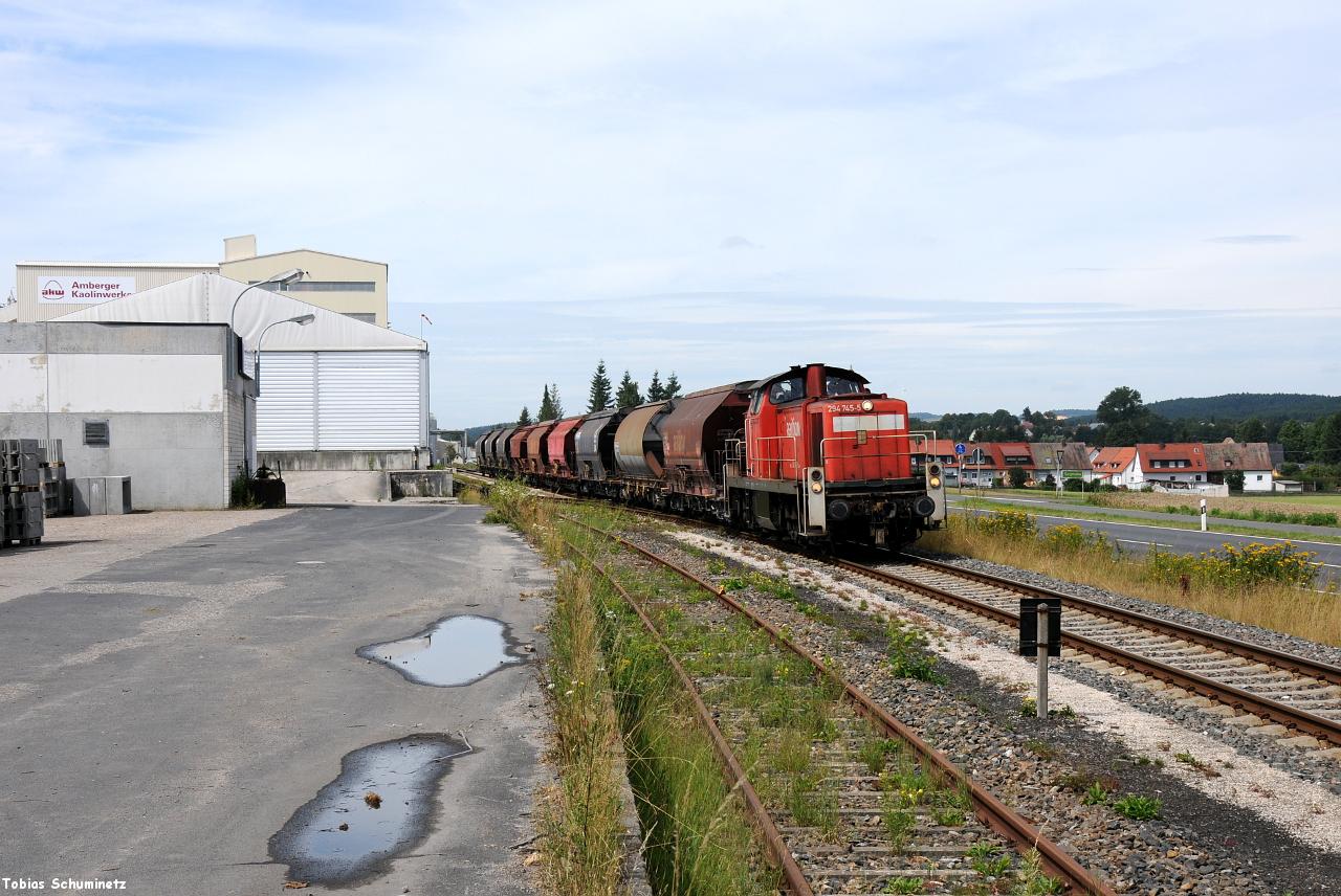 Ein anderes Motiv, bei welchem der lange Zug ganz gut kommt habe ich noch bei der Anschlussweiche zum AKW gefunden. Jetzt hatte leider der Schlonz am Himmel bereits Hirschau erreicht.