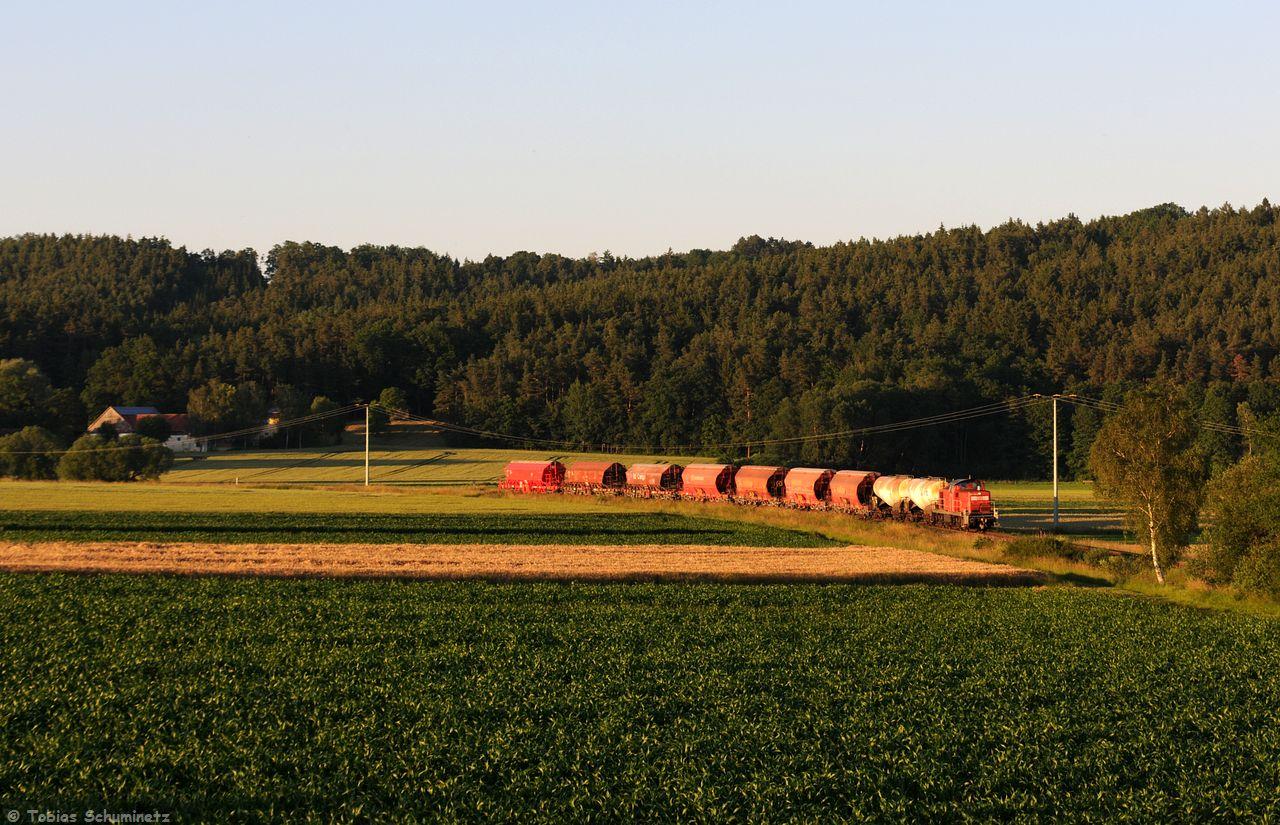 Mit den 9 Wagen im Schlepp hatte die 294 750 auch ganz schön zu kämpfen, aber im Gebenbachtal vor Godlricht dürfte es recht flach sein. Jedenfalls füllen die 9 Güterwagen das Motiv ganz schön aus.