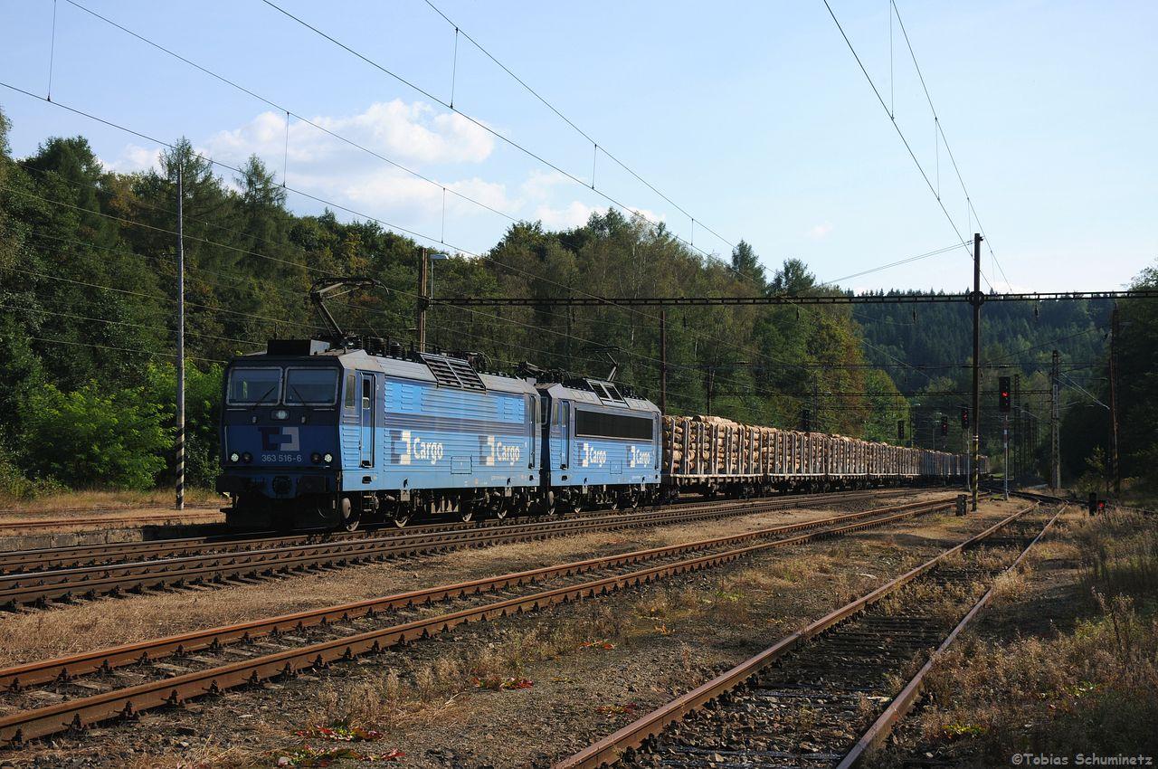 Bevor jedoch der Sonderzug kam, beehrte uns von hinten noch ein beladener Holzzug, welcher vermutlich von 363 516 + 363 506 in Richtung Deutschland gebracht wurde.