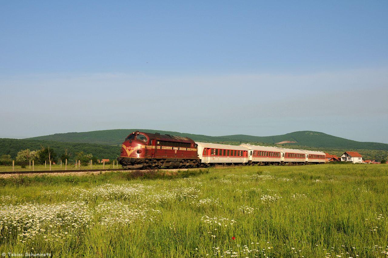 Wir fuhren dem Zug hinterher und bei Bardh i Madh konnten wir noch diese Bild mit der grünen Wiese machen.