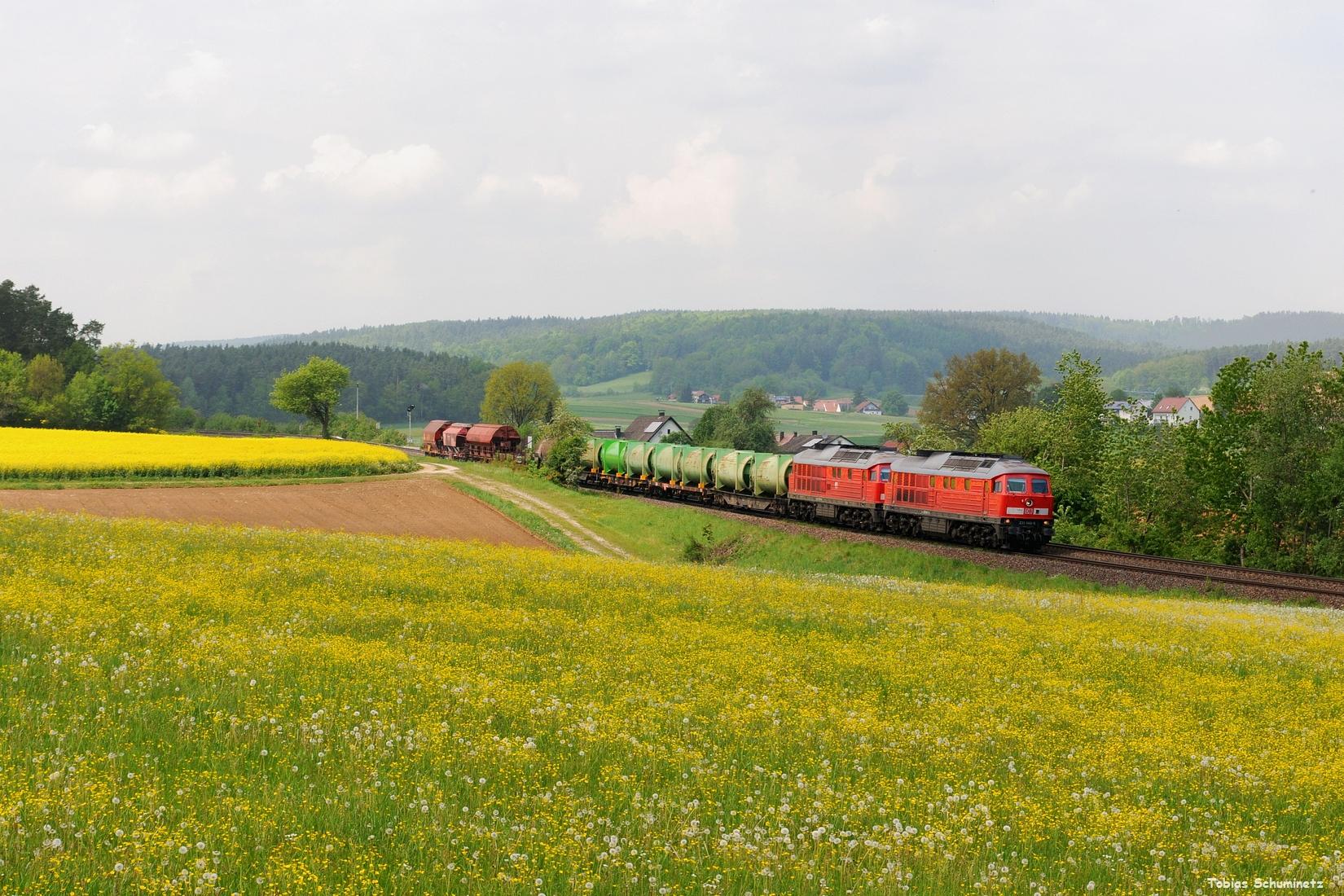 Am 19.05.2017 bekam ich die Info, dass der EK56009 in Hartmannshof liegen geblieben ist. Da die Lok zum Abschleppen des Zuges erst aus Nürnberg kommen musste, war der Zug in der idealen Zeitlage für das Motiv bei Sulzbach-Rosenberg mit der tollen Löwenzahnwiese und dem Rapsfeld. Doch leider zog es kurz vor Zugsdurchfahrt zu. 233 040 kam der gestrandeten 233 306 zur Hilfe.