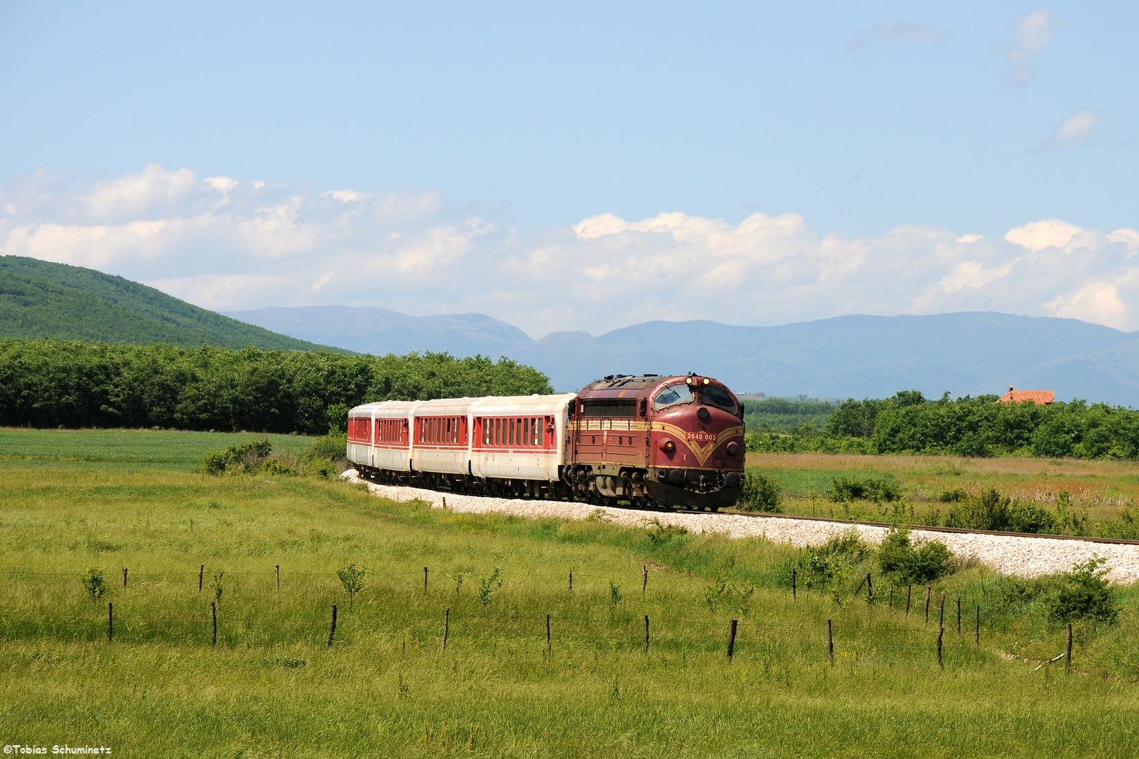 Danach war es Zeit für den Personenzug aus Peja. Bei Damanek konnten wir Lok 007 mit dem TL4200 aufnehmen. Diesmal waren 5 Schlierenwagen am Zug, welche hinter der Di3 schon sehr schnittig aussehen.