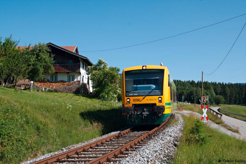 Zahlreiche Motive gibt es auch kurz vor dem Bahnhof Gotteszell, den VT650.76 soeben auf dem Weg nach Viechtach verlassen hatte.