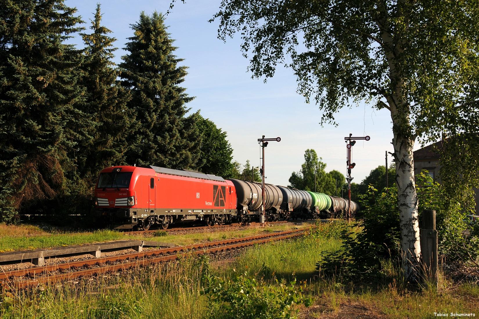 Das erste Bild gelang dann von der Fuhre mit 247 903 bei der Einfahrt in den Bahnhof Miltitz-Roitzschen.
